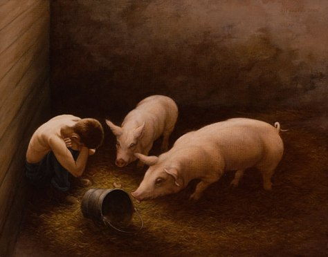 """LUKE 15:22–23 """"But the father said to his servants, 'Bring out the best robe and put it on him, and put a ring on his hand and sandals on his feet. And bring the fatted calf here and kill it, and let us eat and be merry;"""